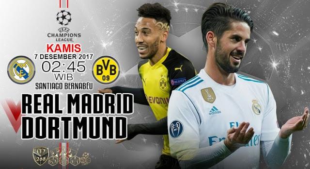 Prediksi Bola : Real Madrid Vs Borussia Dortmund , Kamis 07 Desember 2017 Pukul 02.45 WIB @ SCTV