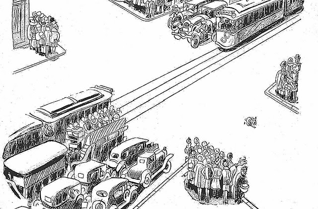 a Walter Trier cartoon of a busy intersection stopped by a pooping dog