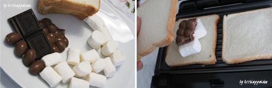 come fare un toast cioccolato marshmallon nel grill