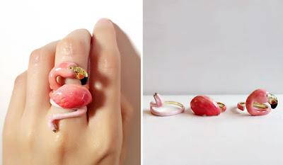 flamingo tasarımlı takı,yüzük