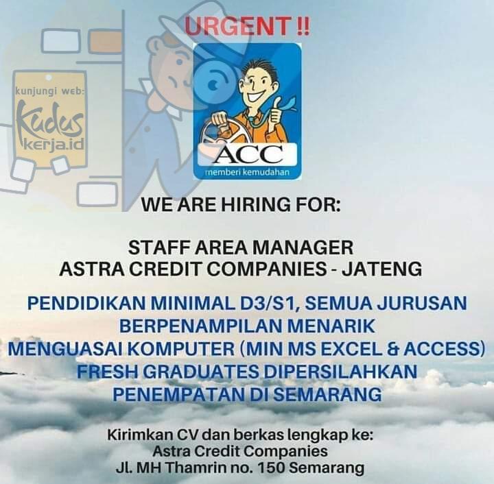 Kudus Kerja Astra Credit Companies Semarang Jawa Tenga sedang membuka lowongan Kerja untuk posisi Staff Area Manager informasi lebih lanjut lihat pada gambar dibawah ini.