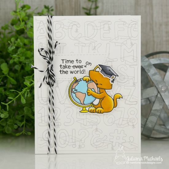 Graduation Card by Juliana Michaels | Newton's Graduation Stamp Set and Essential Alphabet Die Set by Newton's Nook Designs #newtonsnook #handmade