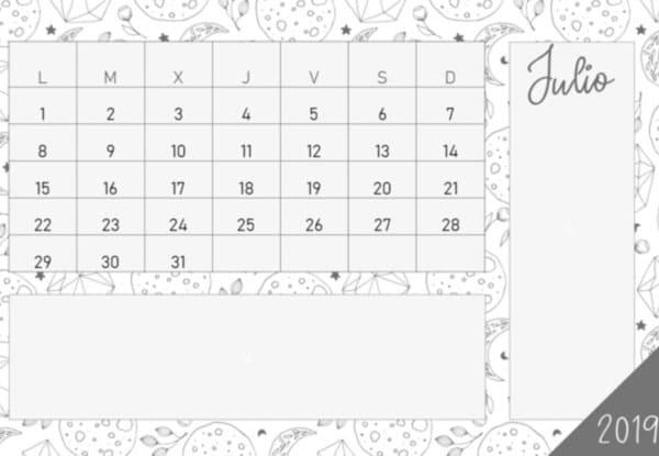 Calendario 2019 en PDF gratis en color blanco, negro y gris