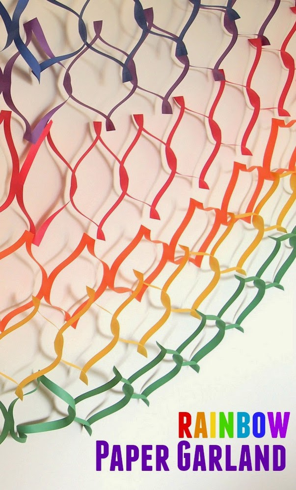 make a colorful paper garland- super easy paper cutting activity to do with kids!  Instant party!