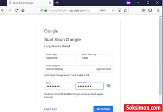 Mengisi informasi username dan password gmail