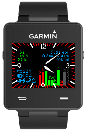 Open source Connect IQ face for Garmin watches - Analog & Bars