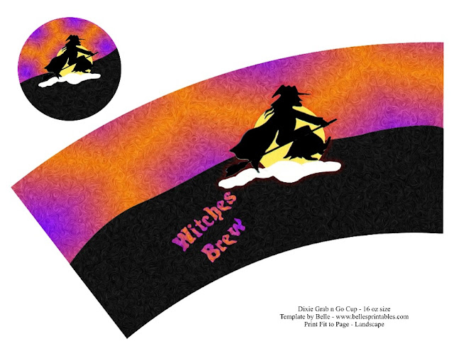 Bruja para Halloween: Envoltorio para Tazas para Imprimir Gratis. Hecho. Hecho