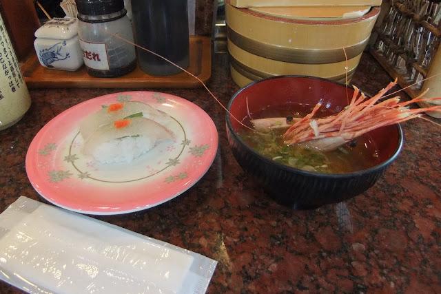 sushi-with-shrimp-misosoup お寿司とエビの味噌汁