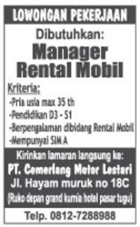 Karir Lampung Terbaru di PT. Cemerlang Motor Lestari Mei 2016