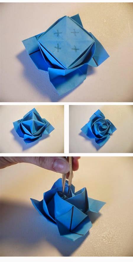 Cara Membuat Origami Bunga Mawar Biru
