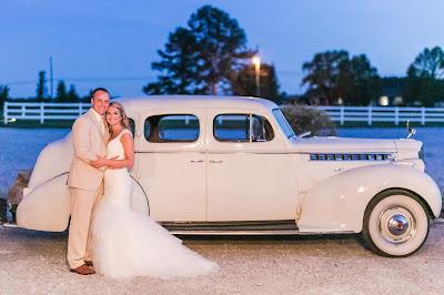 Rustic barn wedding meets vintage fairy tale. Meadow Creek Farm North Alabama Wedding Venue. Vintage Beauty and the Beast inspired wedding reception decoration ideas. Vintage getaway car