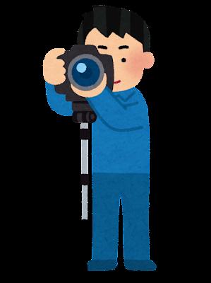 一脚で撮影をする人のイラスト