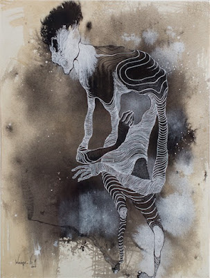 "by Boniface Maina, ""Identity I"", 2016 - Acrylic on paper | imagenes de obras de arte contemporaneo bellas, pinturas tristes, figuras abstractas | sad art paintings, drawings"