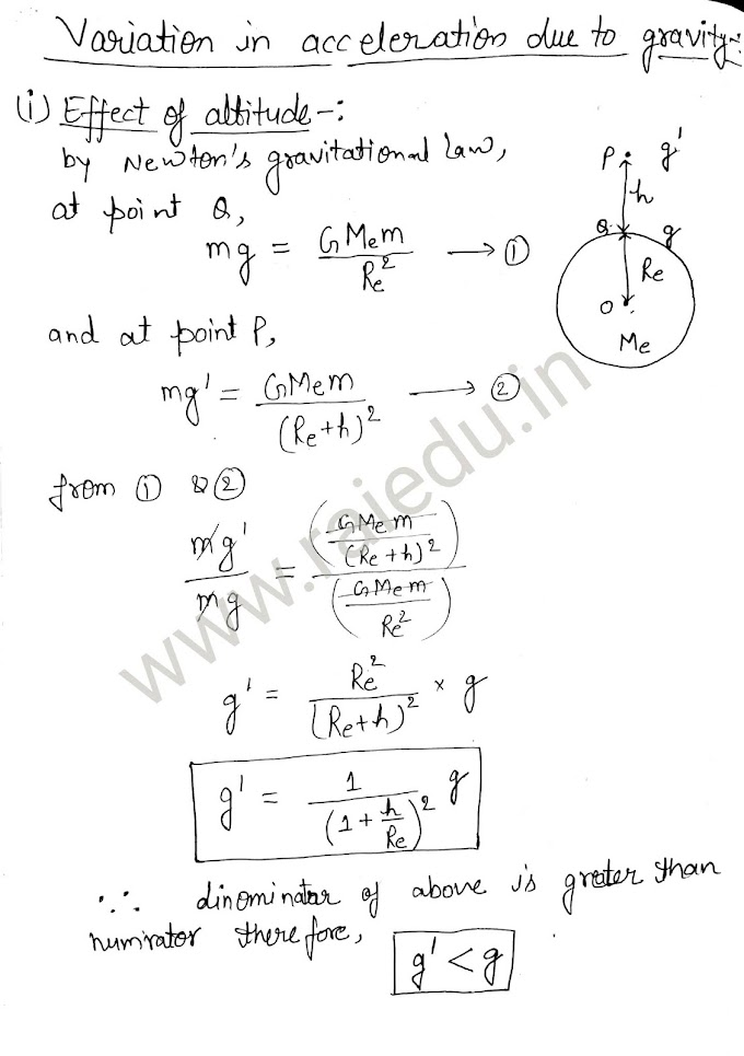 Variations in value of acceleration due to gravity