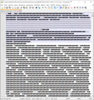 What a DOC file looks like in NotePad++