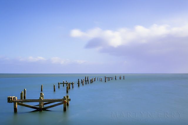 Long exposure of Swanage old pier on the Dorset coast