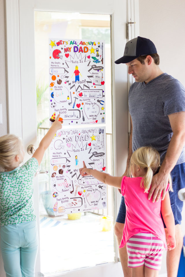"Color your own ""It's All About Dad"" posters for Father's Day!"