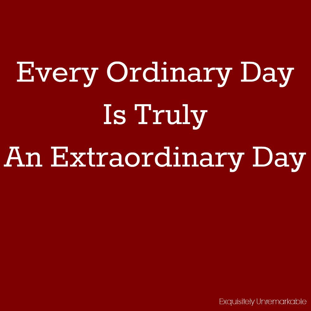 Every Ordinary Day Is Truly An Extraordinary Day