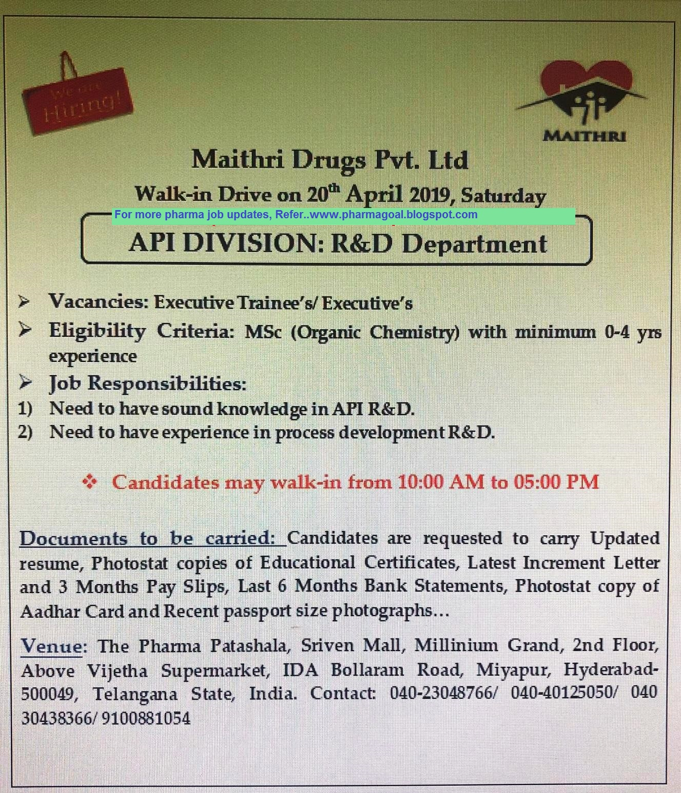 Maithri Drugs Limited - Walk-In Interview for M Sc Chemistry