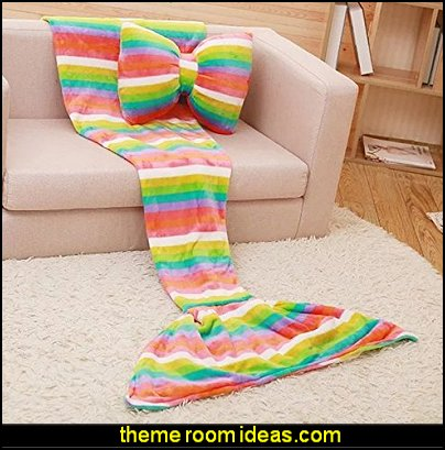 Mermaid Tail Flannel Leisure Nap Sleeping Blanket and Plush Bow Pillow Cushion