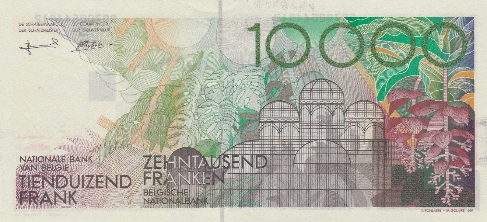 Belgium Money Currency 10000 Francs banknote 1992 Royal Greenhouses of Laeken