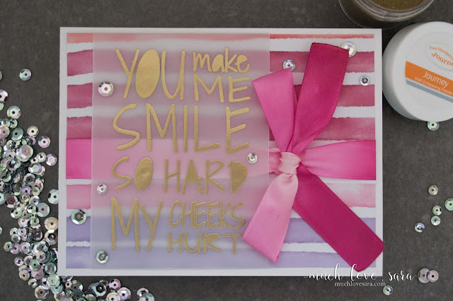 This colorful card was hand stamped with the FSJ Smile Hard ATS, and features ribbon that was dyed in an ombre style.  All Fun Stampers Journey products used to create this fun card.