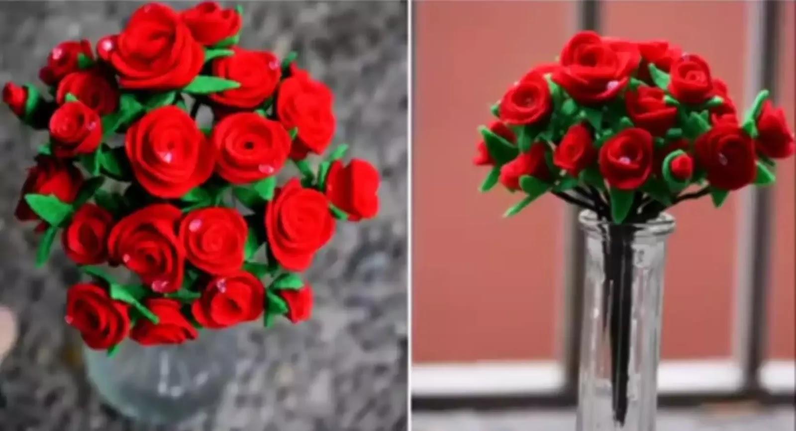 Cara Membuat Buket Bunga Mawar Dari Kain Flanel