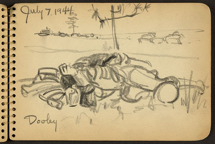 21-Year-Old WWII Soldier's Sketchbooks Show War Through The Eyes Of An Architect - Soldier Lying On The Ground While Stationed At Fort Jackson, South Carolina