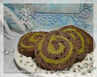 Biscuits sablés en spirales chocolat pistache