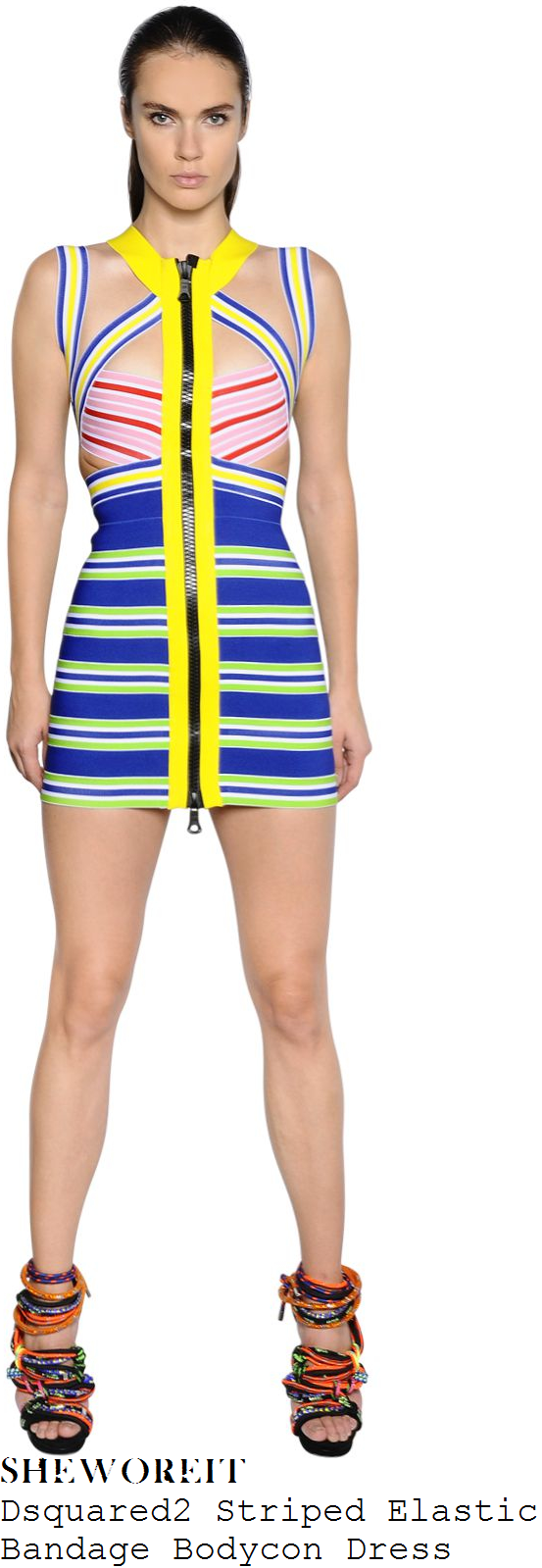 alesha-dixon-dsquared2-yellow-blue-white-pink-red-and-multicoloured-striped-criss-cross-detail-bandage-mini-dress