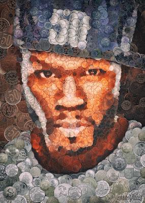Retrato elaborado con monedas