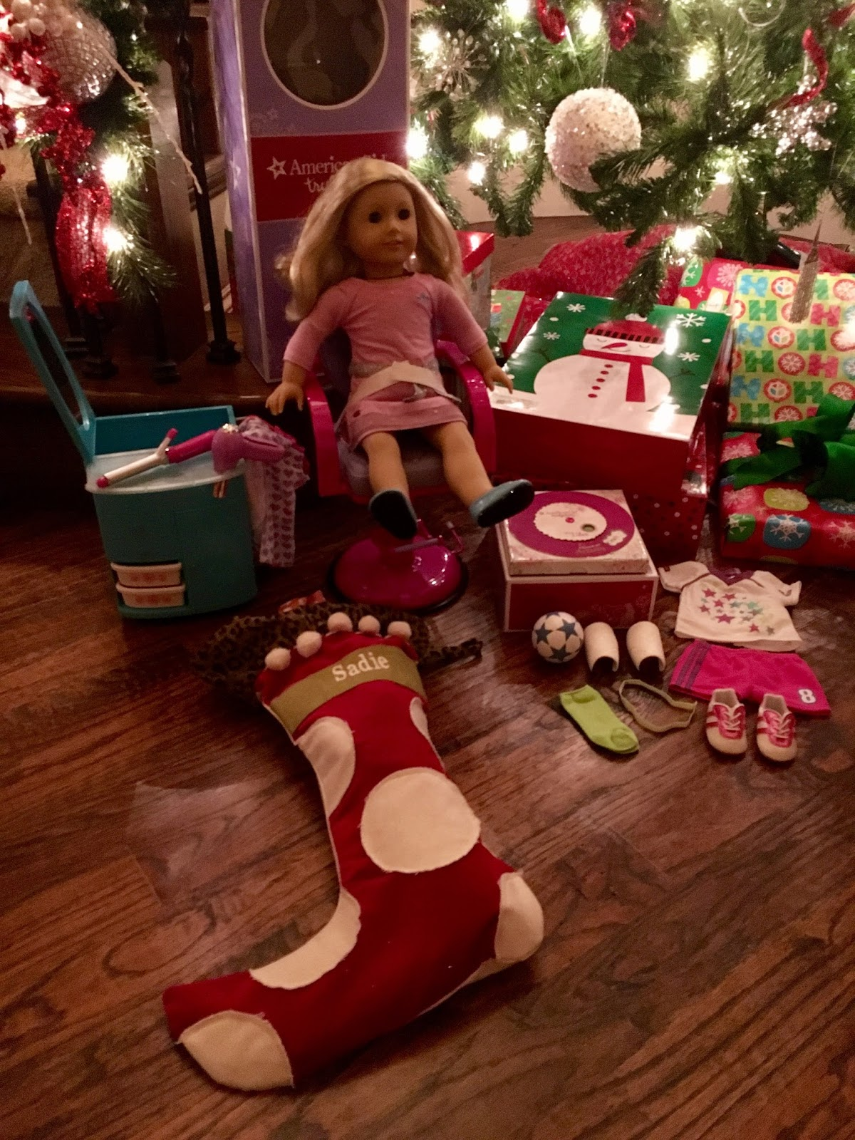 looks like the girls were good this year got just what they asked for sadie wanted her first american girl doll with hair she has a bitty baby but it is - Christmas Decorations For American Girl Dolls