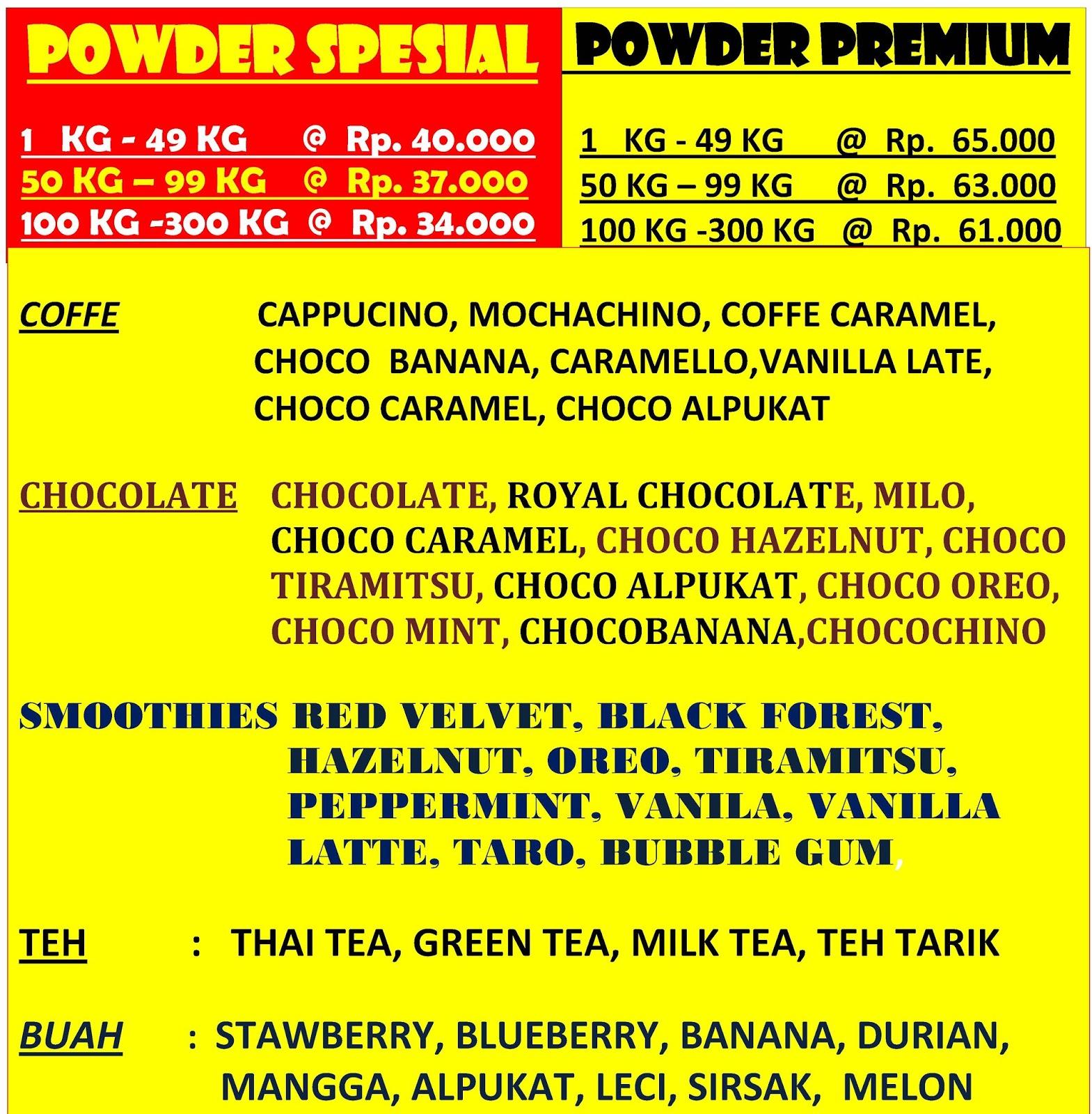 Bubuk Minuman Premium Grosir Powder Bubble Rasa Milo Cappucino Coklat Green Tea Taro Buah