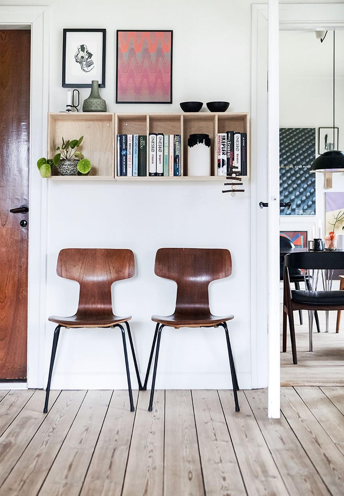 fritz hansen chairs, wall art, bookshelf, nordic home