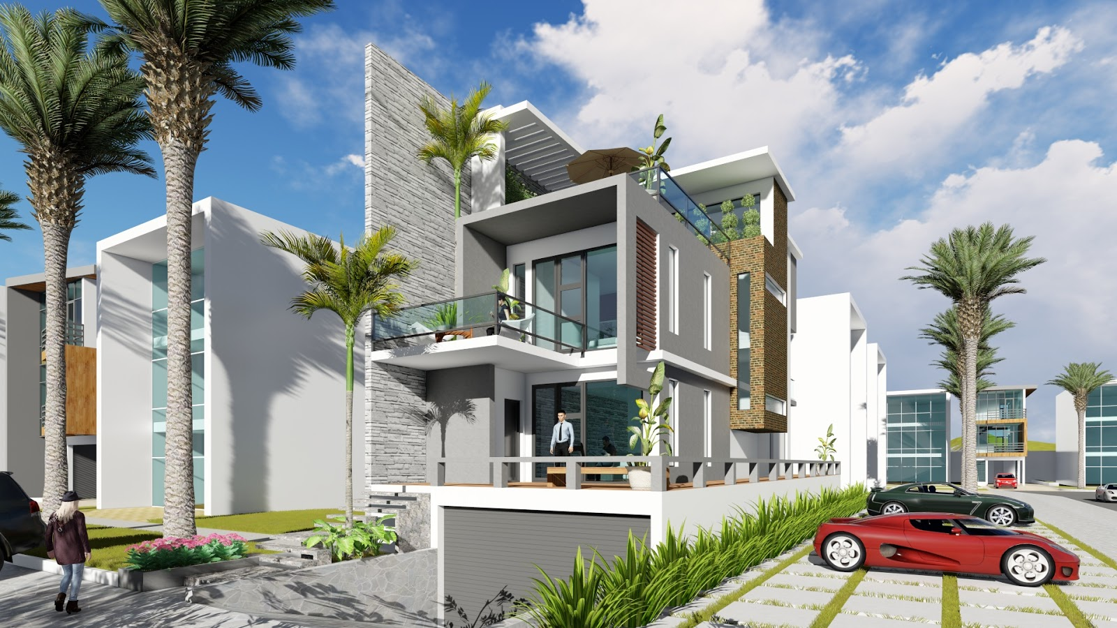 Sketchup Modeling 3 Stories Exterior House Design With Land Size