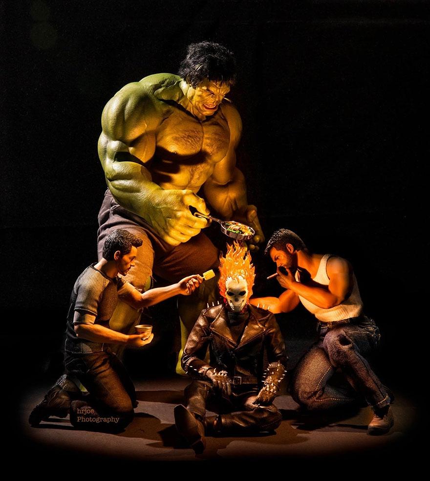 02-Hrjoe-Marvel-Superheroes-During-their-Downtime-www-designstack-co
