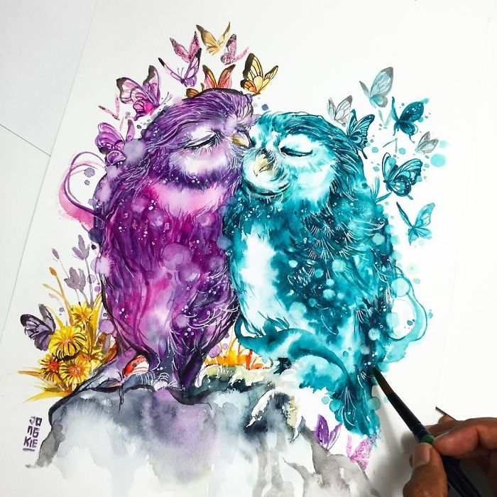 04-Owls-in-Love-Jongkie-art-Luqman-Reza-Mulyono-Vibrant-Fantasy-Watercolor-Animal-Paintings-www-designstack-co