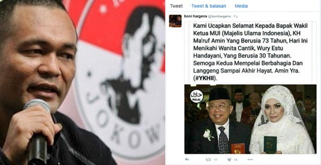 Unggah Foto Lama Pernikahan Ketua MUI, Boni Hargens Tuai Kecaman di Lini Masa : kabar Terupdate Hari Ini