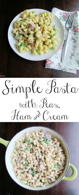 This pasta dish is perfectly simple.  It is a great way to use up some leftover ham and turn it into a comforting and delicious meal!