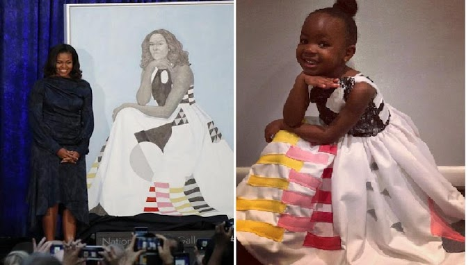 Little girl who was obsessed with Michelle Obama's portrait channels the former First Lady for Halloween in cute photo