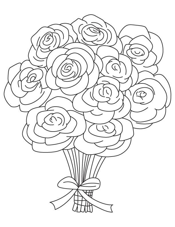 Dessins et Coloriages: Page de coloriage grand format à imprimer : un grand bouquet de roses ...