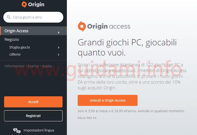 Origin Access sezione del sito web di Origin