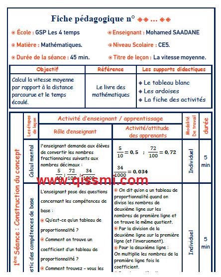 جذاذة الرياضيات بالفرنسية