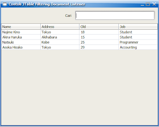 Contoh Membuat Filtering JTable di Java Swing