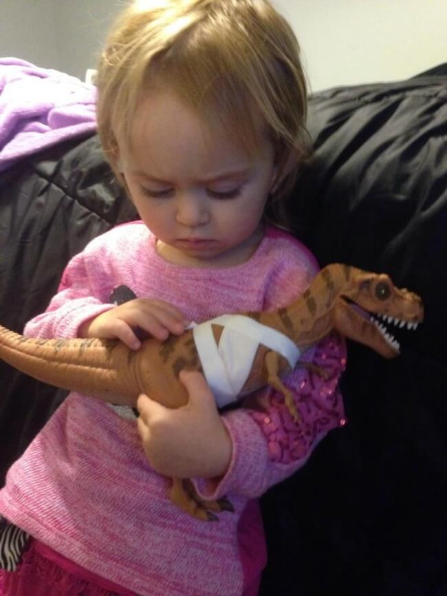 16 Pictures Of Children Restored Our Faith In Humanity - 'Here's my two-year-old who asked me to help treat this dinosaur's wounds and is comforting him.'
