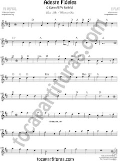 Saxofón Alto y Sax Barítono Partitura de Adeste Fideles Sheet Music for O come All Ye Faithful Alto and Baritone Saxophone Music Scores