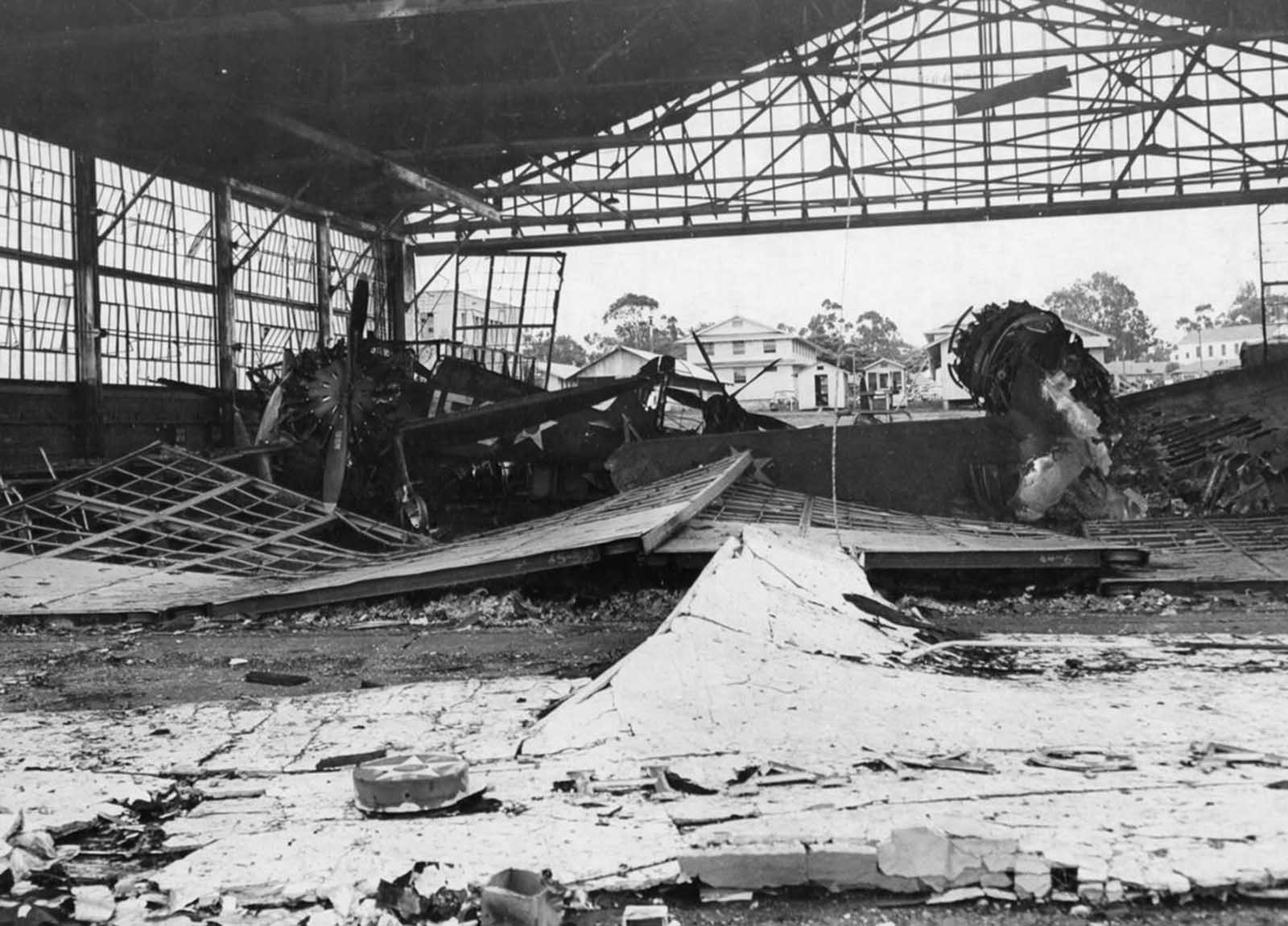 An interior shot of a destroyed aircraft hangar at Wheeler Field, in Hawaii, on December 11, 1941.