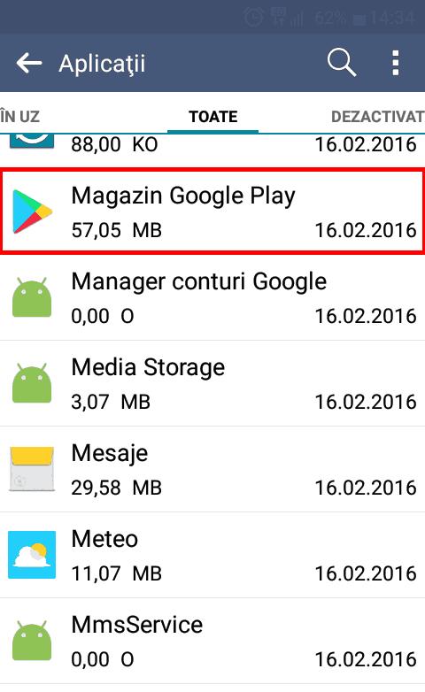 Magazin Play în lista cu aplicații Android instalate