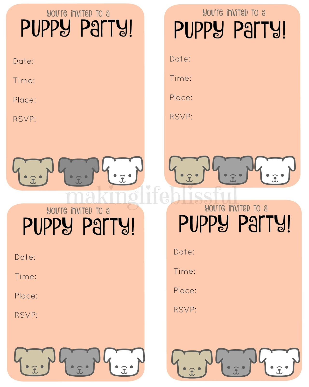 Free Puppy Party Printable Invite