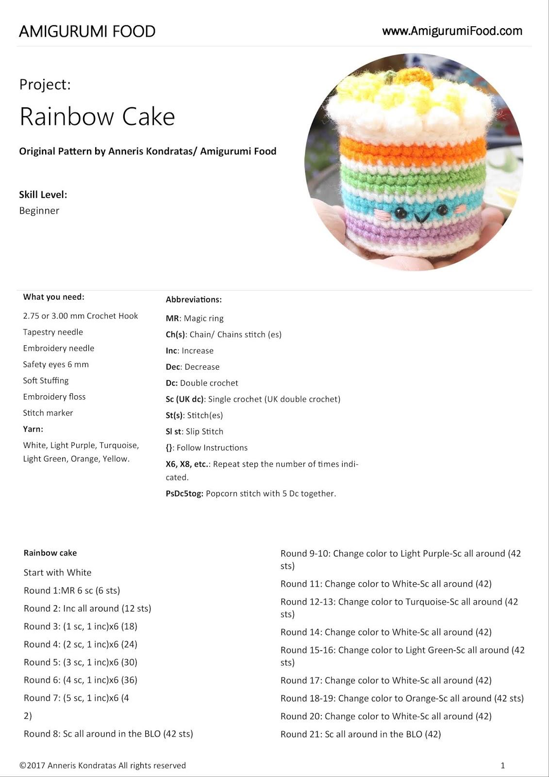 Amigurumi Food Rainbow Cake Free Pattern